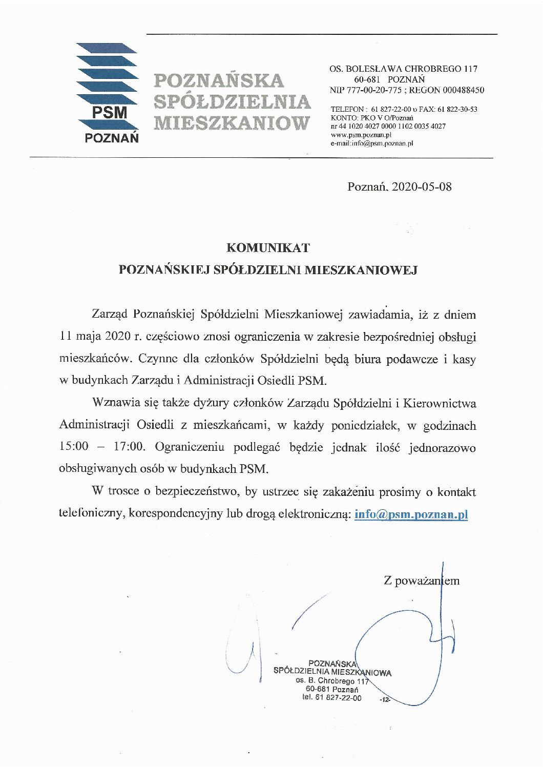 thumbnail of Komunikat z 08.05.2020